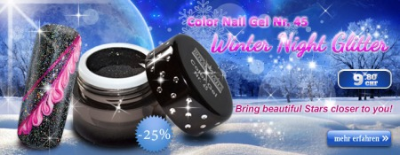 Color Nail Gel Nr. 45 Winter Night Glitter