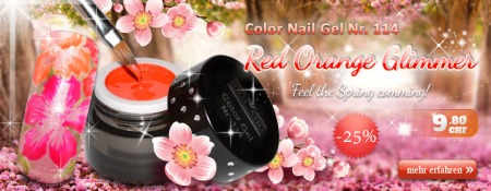 25% Rabatt auf Royal Nails Color Nail Gel Nr. 114 Red Orange Glimmer