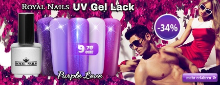 "-34% auf RoyalNails UV Gel-Lack, Permanent Nagellack Red ""Purple Love"""