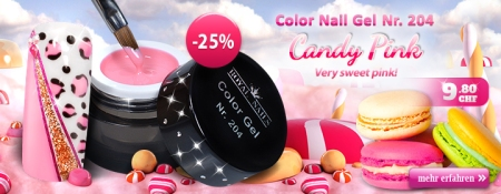 25% Rabatt auf Color Nail Gel Nr. 204 Candy Pink
