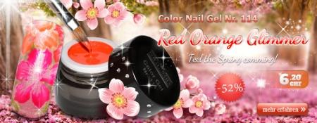 52% Rabatt auf Color Nail Gel Nr. 114 Red Orange Glimmer
